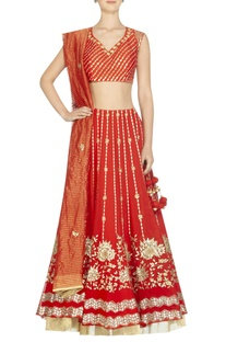 Embroidered lehenga with blouse and striped dupatta