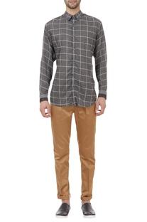 Chequered regular fit shirt