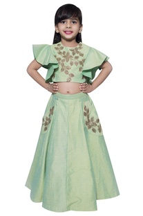Leaf cutdana blouse with lehenga