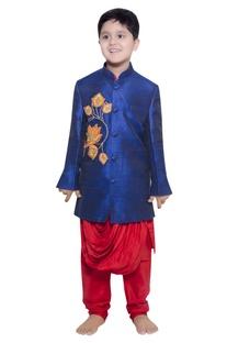 Lotus embroidered jacket with draped kurta & churidar