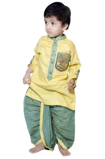 Owl embroidered kurta with draped dhoti