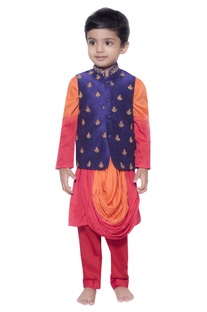 Embroidered nehru jacket with draped kurta & pants