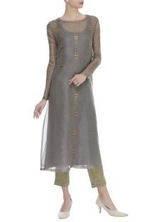 Sequin Embroidered Kurta With Pants