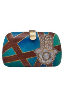 Clutch with hand embroidered motif