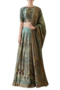 Digitally print blouse with hand embroidered lehenga & dupatta