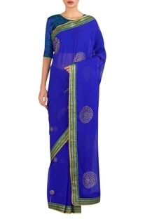 Circular embroidered sari with blouse