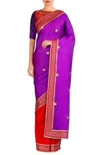 Boota work sari with embroidered blouse