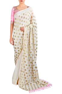 Polka dot sari with handcrafted blouse