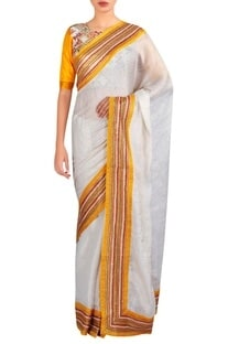 Border embroidered sari with blouse