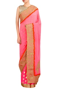 Woven sari with applique embroidery and blouse