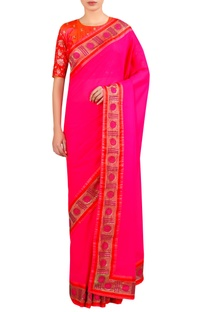 Lace embroidered sari with blouse