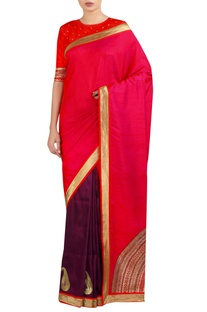 Half moon embroidered sari with blouse
