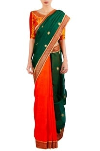 Thread & sequin embroidered sari with blouse