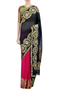 Applique embrodiered sari with blouse