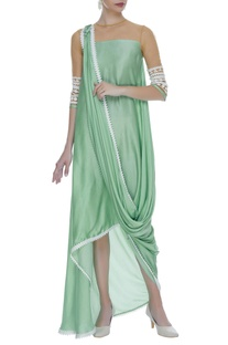 Embroidered cowl draped dress