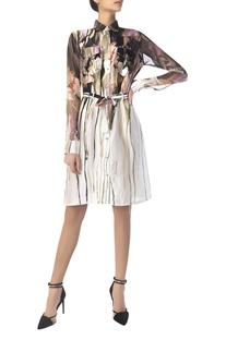 Printed shirt dress with waistbelt