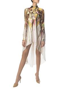 Printed high low shirt dress