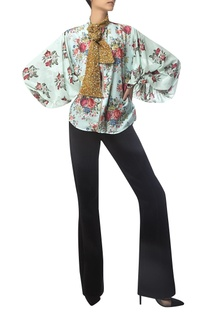Front Zip Printed Blouse