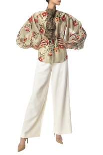 Floral Print Balloon Sleeve zipper blouse