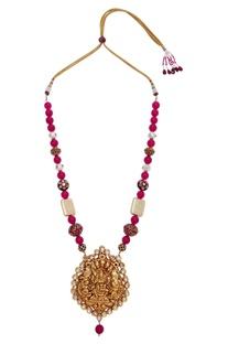 Temple pendant kundan & ruby necklace