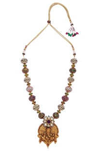 Ganesh pendant meena work necklace