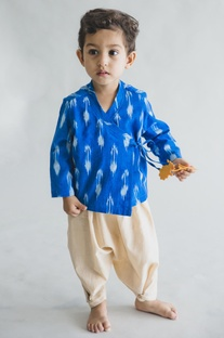 Ikat printed kurta with dhoti pants