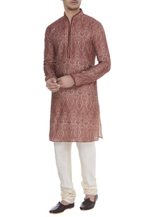 Printed & hand embroidered kurta