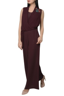 Draped bodice jumpsuit