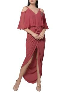 Cold shoulder Embroidered tulip dress