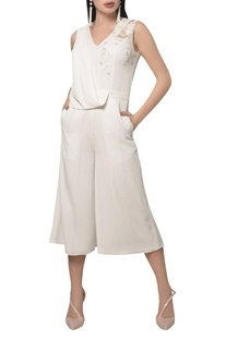 Embroidered draped culotte jumpsuit