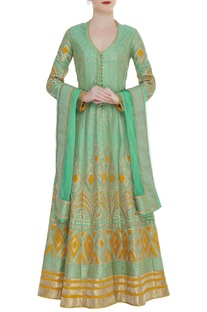 Gota Embroidered Kurta Lehenga Set