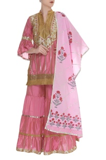 Embroidered sharara set with printed dupatta