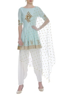 Hand embroidered kurta with dhoti pants & dupatta