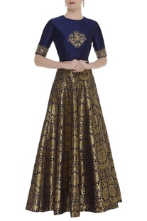 Embroidered crop top with brocade work skirt