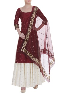 Hand embroidered long kurta with skirt & dupatta