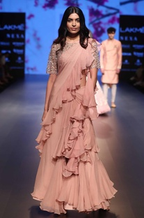 Ruffle layered sari with embroidered blouse