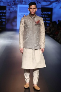 Sequin embroidered nehru jacket with kurta and churidar