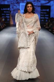 Sequin & threadwork embroidered sari with sleeveless blouse