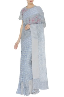 Ruffle hemline threadwork sari