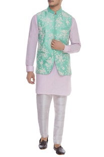 Thread and bead embroidered nehru jacket