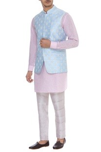 Nehru jacket with cord embroidery
