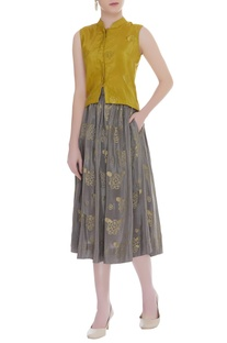 Pleated Pine Cones Embroidered Skirt