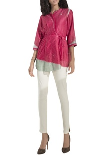 Colour-blocked digital print wrap blouse with inner