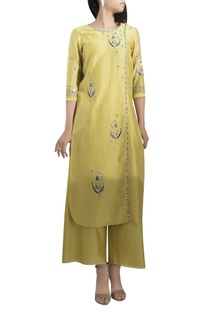 Embroidered straight kurta with palazzos