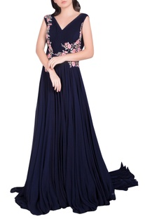 Floral Embroidered Pleated Gown