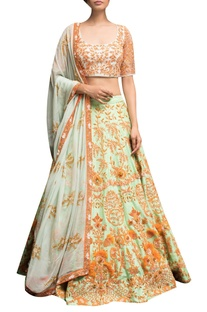 Floral Embroidered blouse with lehenga & dupatta