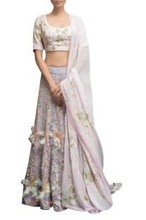 Embellished blouse with feather detail lehenga & dupatta