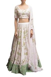 Floral Embellished blouse with lehenga & dupatta