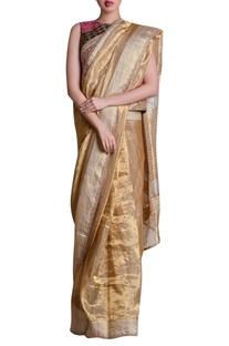 Patchwork embroidered sari