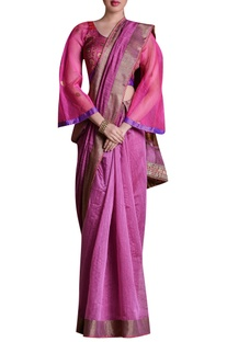 Patchwork embroidered sari with blouse